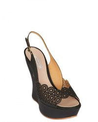 Nina Ricci | Black 130mm Lasered Leather Open Toe Wedges | Lyst
