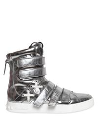 Balmain | Multistrap Metallic Leather Sneakers for Men | Lyst