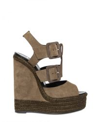 Pierre Hardy | Natural 150mm Suede Buckled Sandal Wedges | Lyst