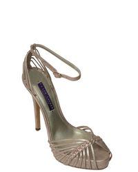 Ralph Lauren | 130mm Jen Metallic Suede Sandals | Lyst