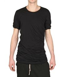 Rick Owens | Black Doubled Unstable Cotton Jersey T-shirt for Men | Lyst