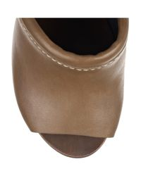See By Chloé - Brown Peep-toe Leather and Wooden Wedges - Lyst