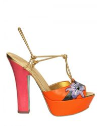 Sergio Rossi | Orange 100mm Painted Flower Nappa Sandals | Lyst