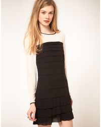 Ted Baker - Black Long Sleeve Pleated Body And Hem Dress - Lyst