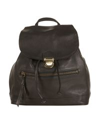 TOPSHOP - Black Leather Backpack - Lyst