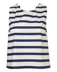 TOPSHOP | Blue Stripe Bow Back Vest | Lyst
