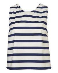 TOPSHOP - Blue Stripe Bow Back Vest - Lyst