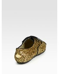 Jimmy Choo - Metallic Wilma Glitter-coated Leather Oxfords - Lyst