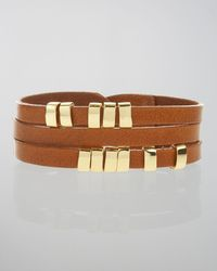 Linea Pelle - Brown Sliced Leather Bracelet - Lyst