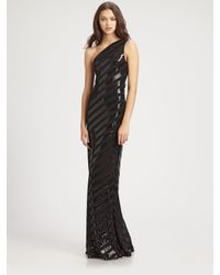 David Meister | Black Striped Sequined Gown | Lyst