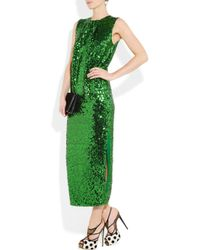 By Malene Birger - Green Amukaji Sequined-Jersey Dress - Lyst