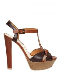 Grey Mer | Brown 130mm Leather T-bar Sandals | Lyst