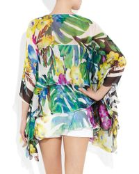 Just Cavalli | Black Pleat-trimmed Printed Silk Blouse | Lyst