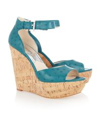 MICHAEL Michael Kors | Blue Ariana Ostrich-Effect Leather Wedge Sandals | Lyst
