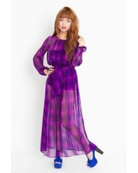 Nasty Gal | Purple Penelope Silk Maxi Dress | Lyst