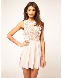 ASOS Collection | Pink Asos Mini Dress with Rose Applique | Lyst