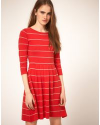 ASOS Collection - Red Asos Striped Knit Dress - Lyst