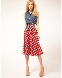 ASOS Collection | Red Asos Check Full Midi Skirt | Lyst