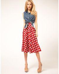 ASOS Collection - Red Asos Check Full Midi Skirt - Lyst