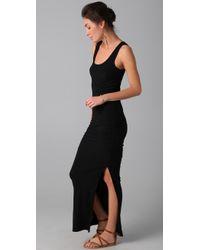 James Perse - Black Side Split Long Tank Dress - Lyst