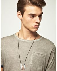 ASOS - Gray Geo Mixed Metal Pendant Necklace for Men - Lyst