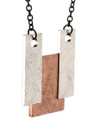 ASOS - Gray Geo Mixed Metal Pendant Necklace for Men - Lyst