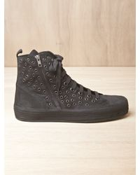 Ann Demeulemeester | Black Mens Scamosciato Eyelet High Top Sneakers for Men | Lyst