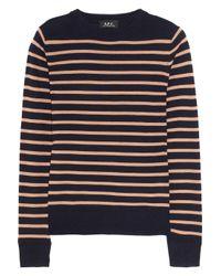 A.P.C. | Blue Striped Fine-knit Wool Sweater | Lyst