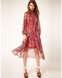 ASOS Collection - Red Asos Midi Shirt Dress in Floral Print - Lyst