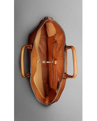 Burberry | Brown Large Washed Leather Tote for Men | Lyst