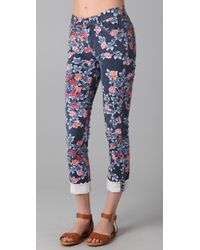 Citizens of Humanity | Blue Mandy Floral Roll Up Jeans | Lyst