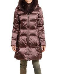 Geospirit | Brown Fox Collar Waxed Nylon Satin Down Jacket | Lyst