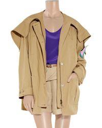 Miu Miu - Natural Hooded Cotton-poplin Parka - Lyst