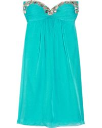 Temperley London | Blue Mini Marcia Embellished Silk-chiffon Dress | Lyst