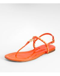 Tory Burch - Orange Aine Woven Patent Leather Logo Thong Sandals - Lyst