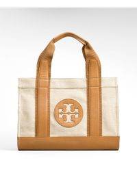 Tory Burch - Natural Canvas Mini Tory Tote - Lyst