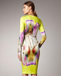 Vera Wang   Yellow Printed Satin Dress   Lyst
