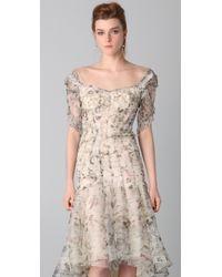 Zac Posen | Beige Print Bustier Dress | Lyst