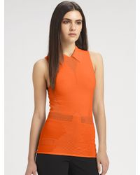 Alexander Wang | Orange Technical Sleeveless Polo Top | Lyst