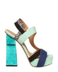Aperlai - Multicolor 140mm Suede & Leather Elasticated Sandal - Lyst