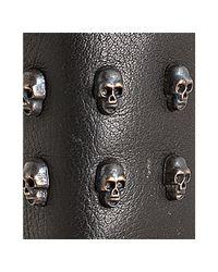 Ash - Black Leather Skull Studded Biker Boots - Lyst