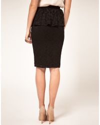ASOS Collection - Black Asos Peplum Skirt in Lace - Lyst