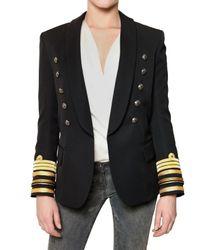 Balmain | Black Naval Wool Cloth Jacket | Lyst