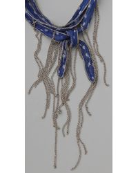 Chan Luu - Blue Beaded Chiffon Wrap Bracelet / Necklace - Lyst