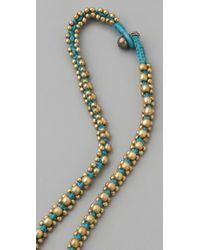 Chan Luu | Blue Brass Nugget Cord Necklace / Bracelet | Lyst