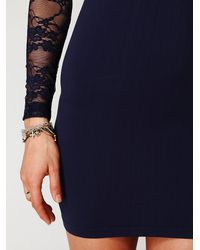 Free People | Blue Ginger Long Sleeve Lace Back Tunic | Lyst
