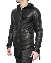 Giorgio Brato - Black Vegetable Treated Hooded Leather Jacket for Men - Lyst