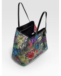 Jimmy Choo - Multicolor Sasha Printed-canvas & Patent Leather Tote Bag - Lyst