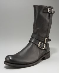John Varvatos | Black Strap Boot | Lyst