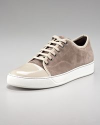 Lanvin | Natural Patent-toe Suede Sneaker, Beige | Lyst